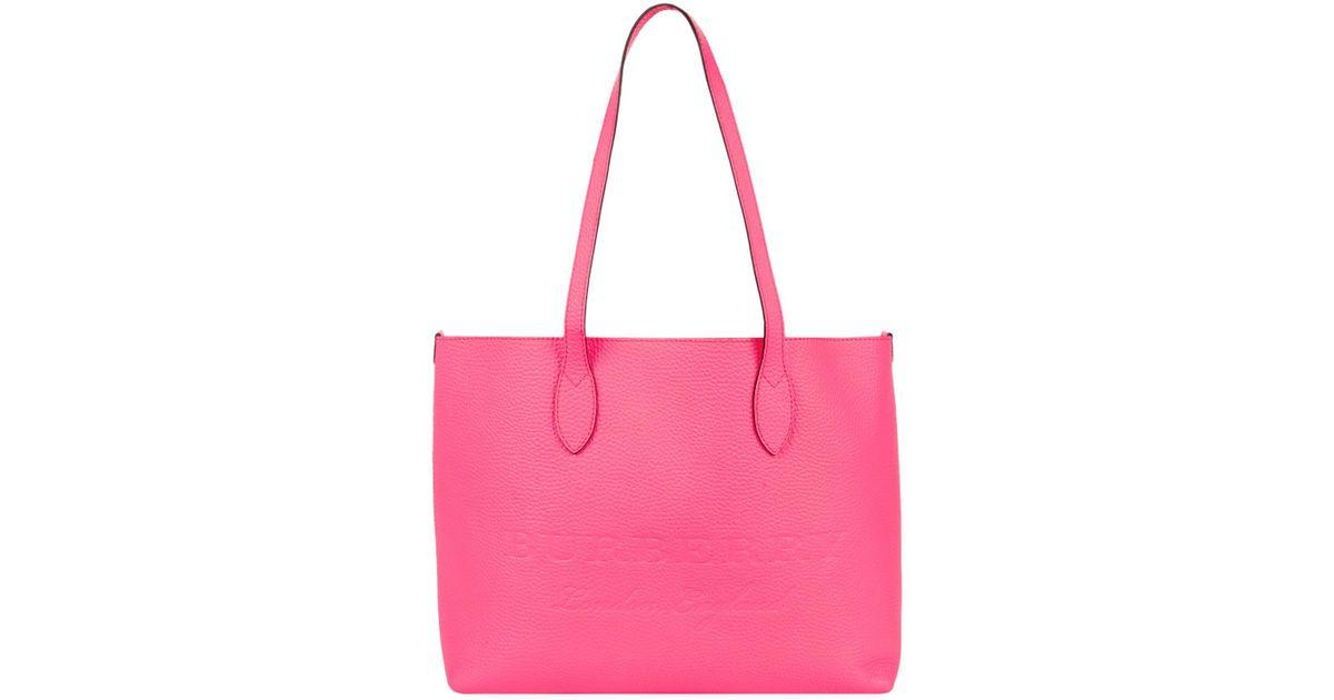 6f86e856da1a Lyst - Burberry Neon Remington Tote Bag in Pink
