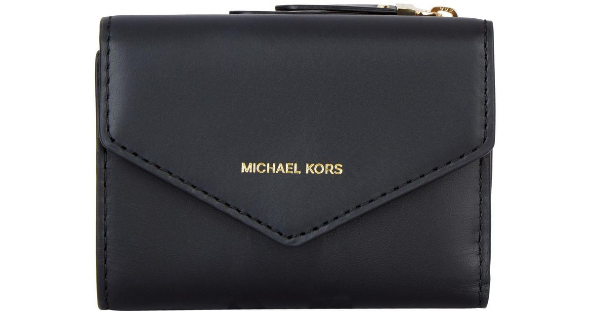 7a83ed4b6df29 Lyst - Michael Michael Kors Small Leather Jet Set Envelope Wallet in Black
