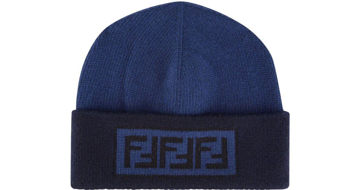2f50115516c7d Fendi Tonal Wool Cashmere Beanie Hat in Blue for Men - Lyst