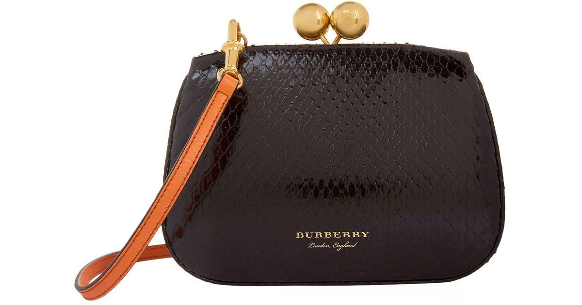 9f715aa99a4 Burberry Small Two-tone Python Metal Frame Clutch Bag in Black - Lyst
