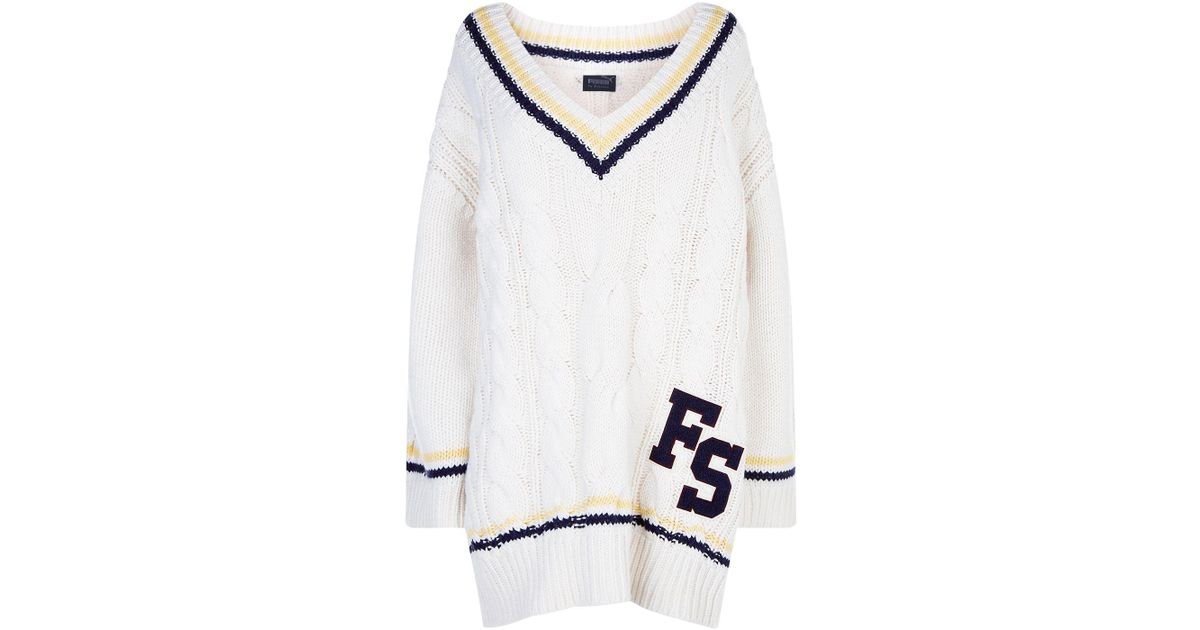 ed30285b9e2 Lyst - PUMA Oversize Cable Knit Sweater in White