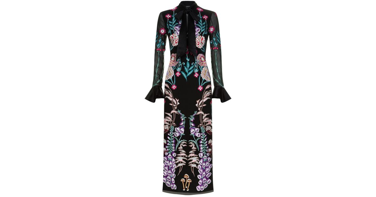 Lyst Temperley London Woodland Tie Dress In Black