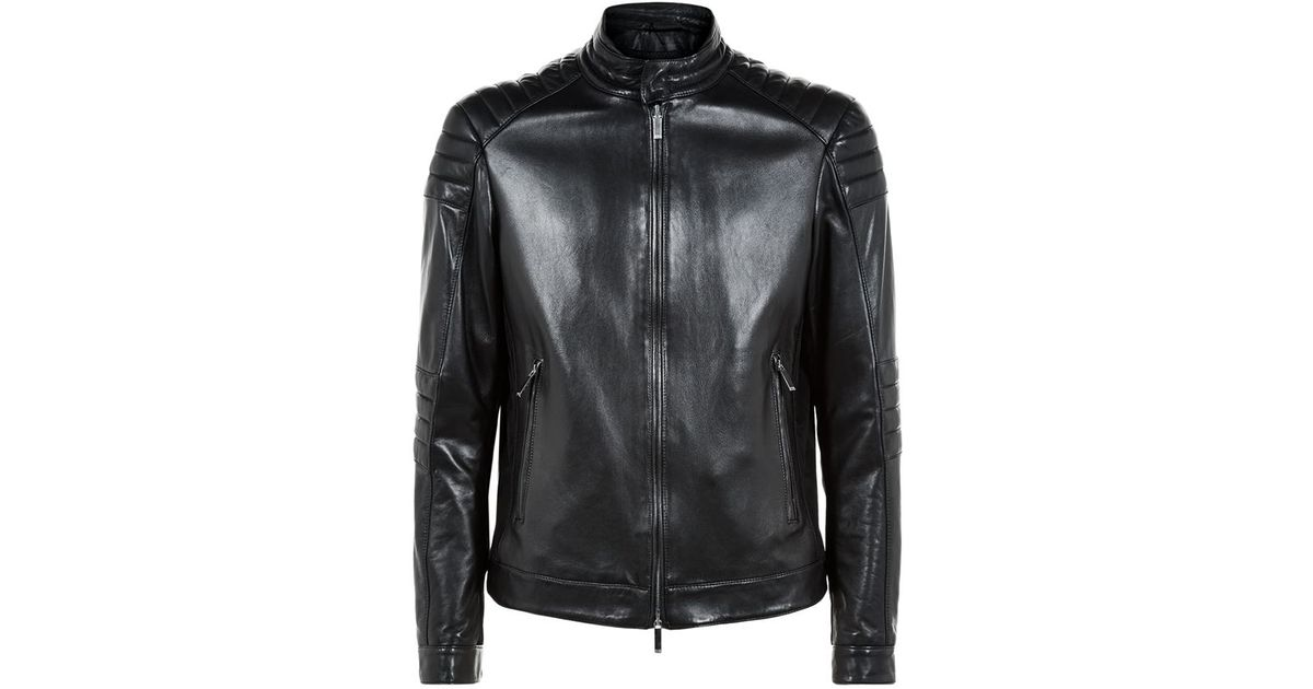 Lyst boss mercedes benz padded leather jacket in black for Mercedes benz leather jacket