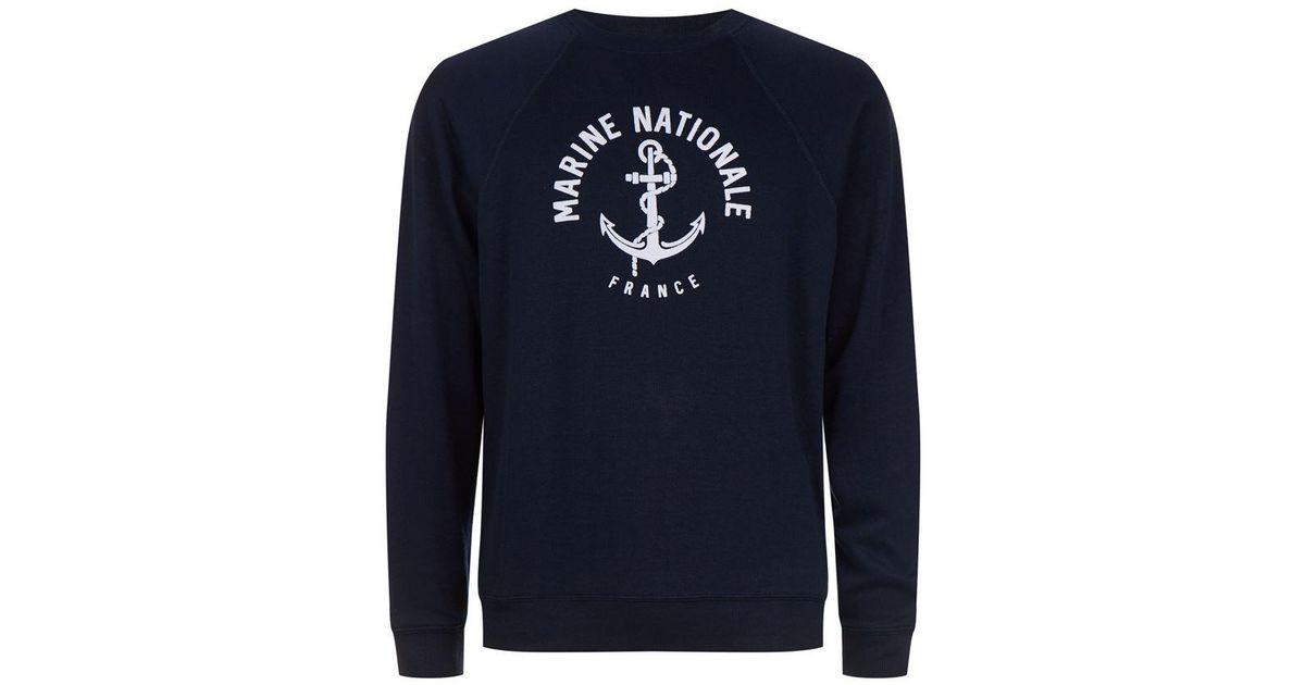 sandro marine nationale sweatshirt in blue for men lyst. Black Bedroom Furniture Sets. Home Design Ideas