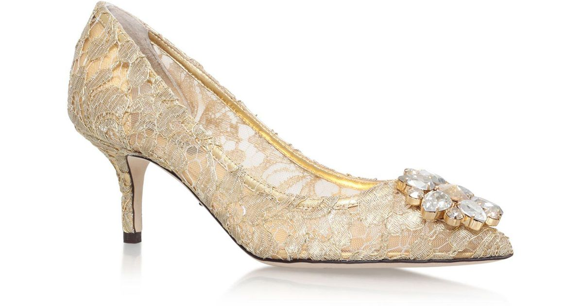 4864b03a77b9 Lyst - Dolce   Gabbana Embellished Lace Rosa Pumps 60 in Natural