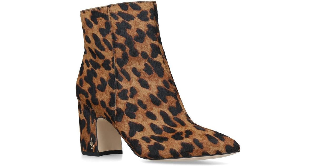 ce2cdeaf0 Lyst - Sam Edelman Leopard Print Hilty Ankle Boots in Brown