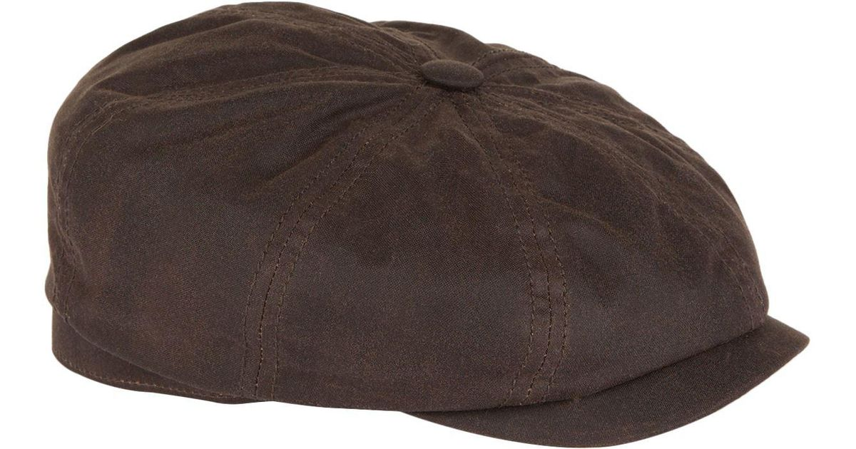 54c2f7eaab4 Lyst - Stetson Hatteras Waxed Cotton Flat Cap in Brown for Men
