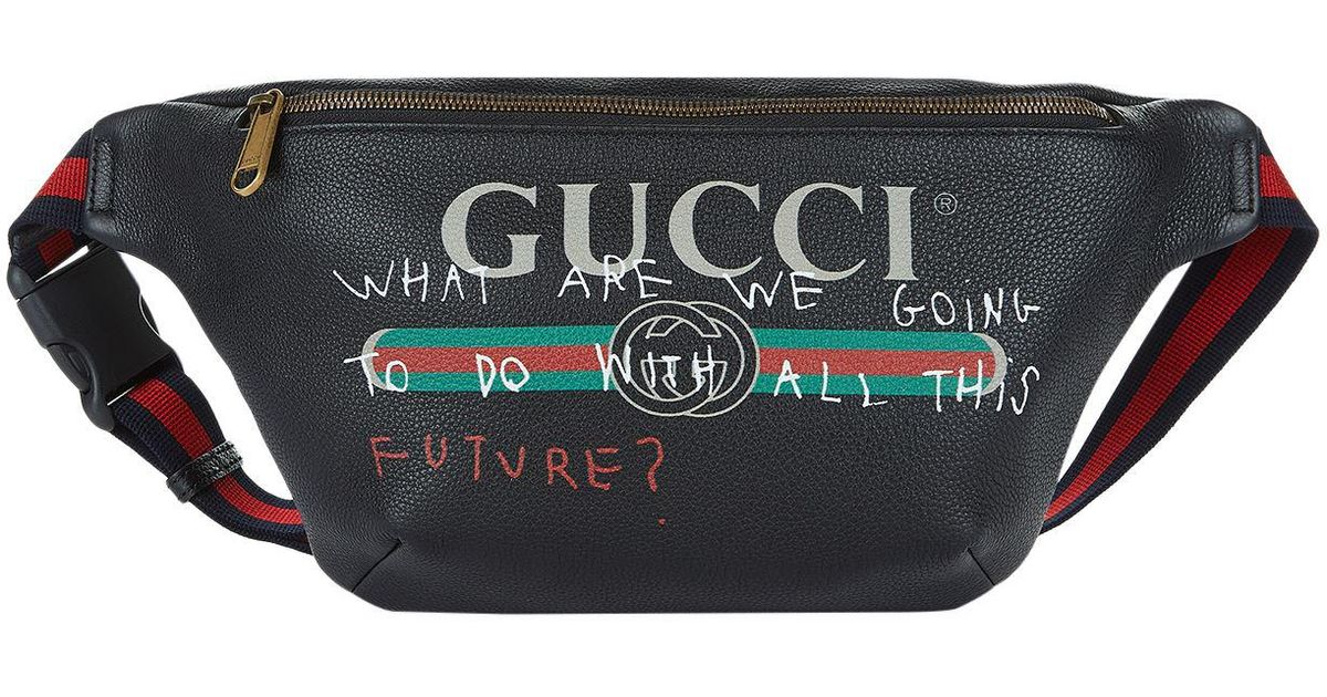5b0bf47881df3a Gucci Slogan Logo Print Belt Bag in Black - Lyst