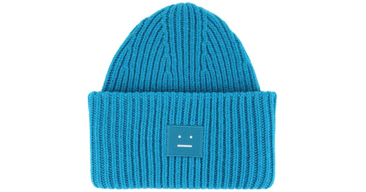 Acne Ribbed Knit Beanie Hat in Blue for Men - Lyst e239b152f3f9