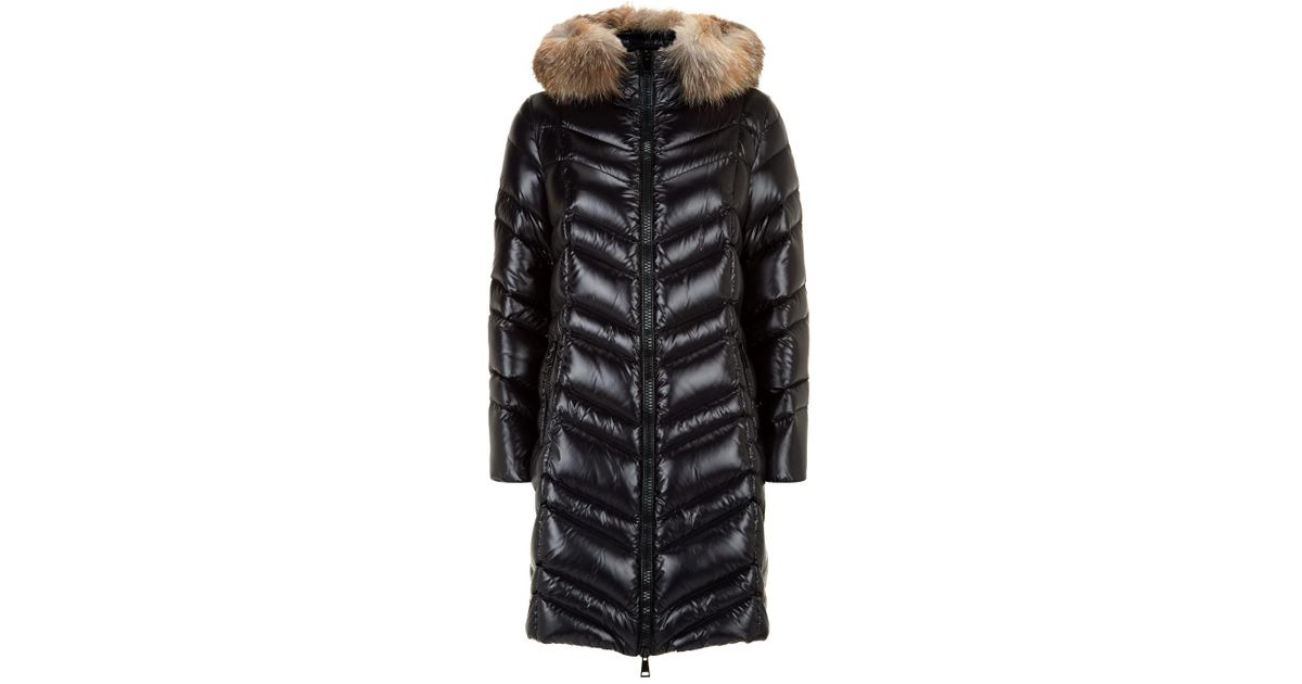 65c8b3f5d6b7 Moncler Fulmar Fox Fur Trim Coat in Black - Lyst