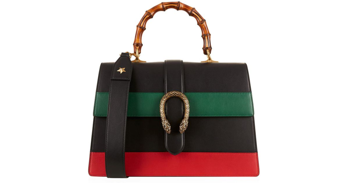 9465775fcc01 Gucci Large Stripe Dionysus Bamboo Top Handle Bag in Black - Lyst