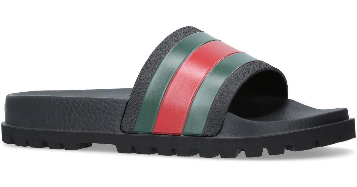 6706bb130cf Gucci Pursuit 72 Rubber Slides in Black for Men - Save 5% - Lyst