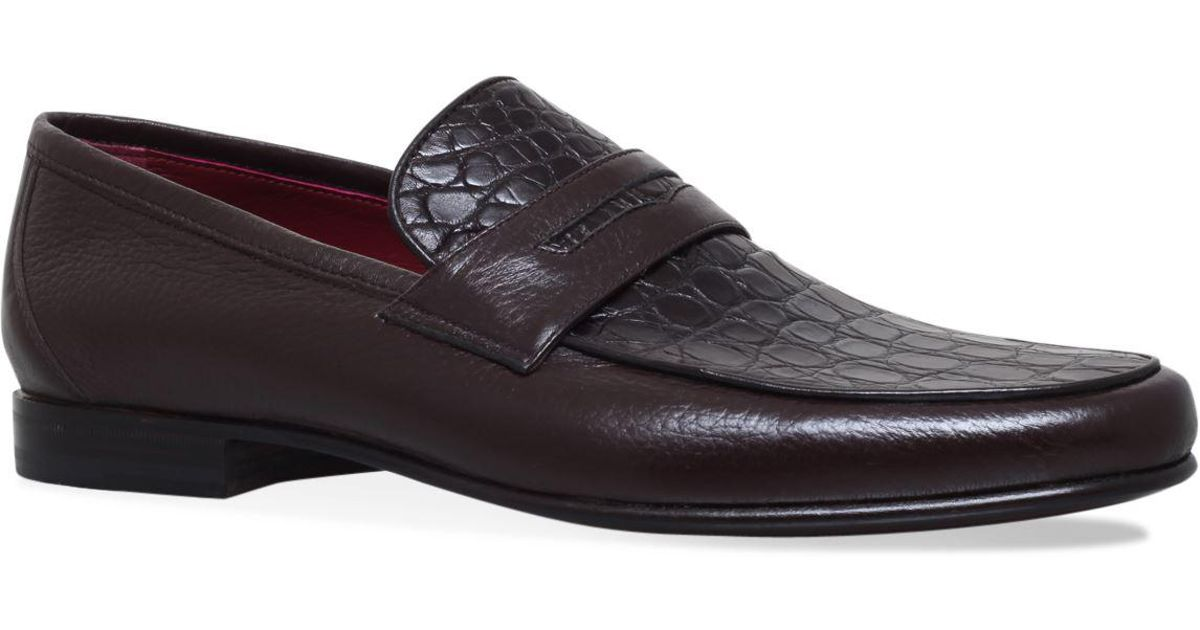 005862d383a Stemar Crocodile Penny Loafers in Brown for Men - Lyst