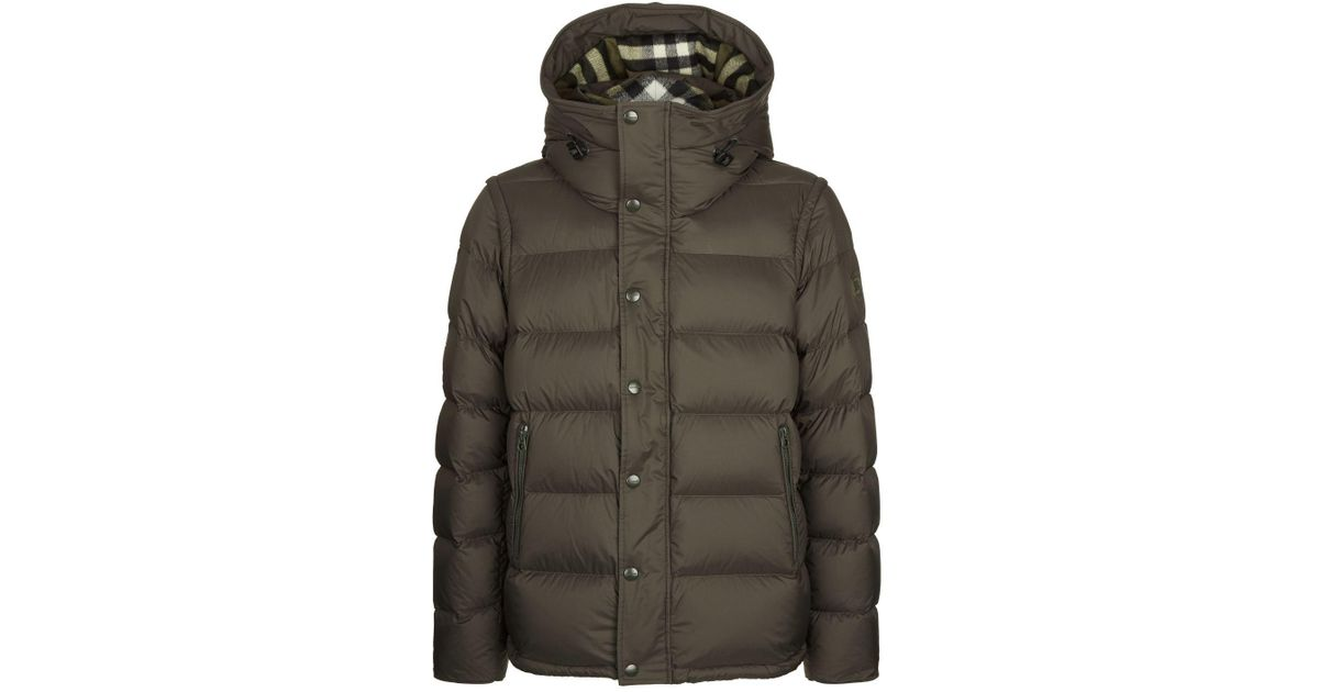841739a270d Burberry Detachable-sleeve Down-filled Hooded Puffer Jacket in Green for  Men - Lyst