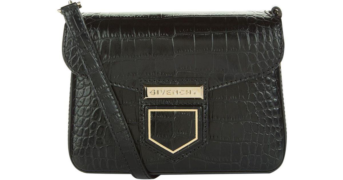 Lyst - Givenchy Nobile Mini Croc-Embossed Leather Shoulder Bag in Black f8cc5cf5da6c8