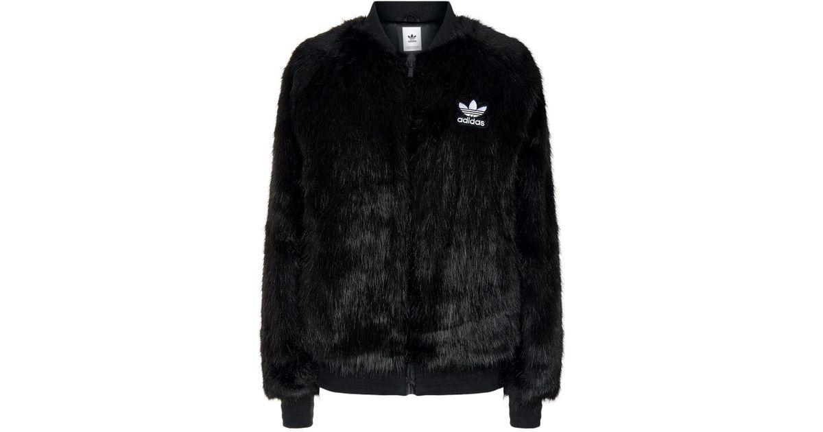 e776862f6 adidas Originals Faux Fur Jacket in Black - Lyst