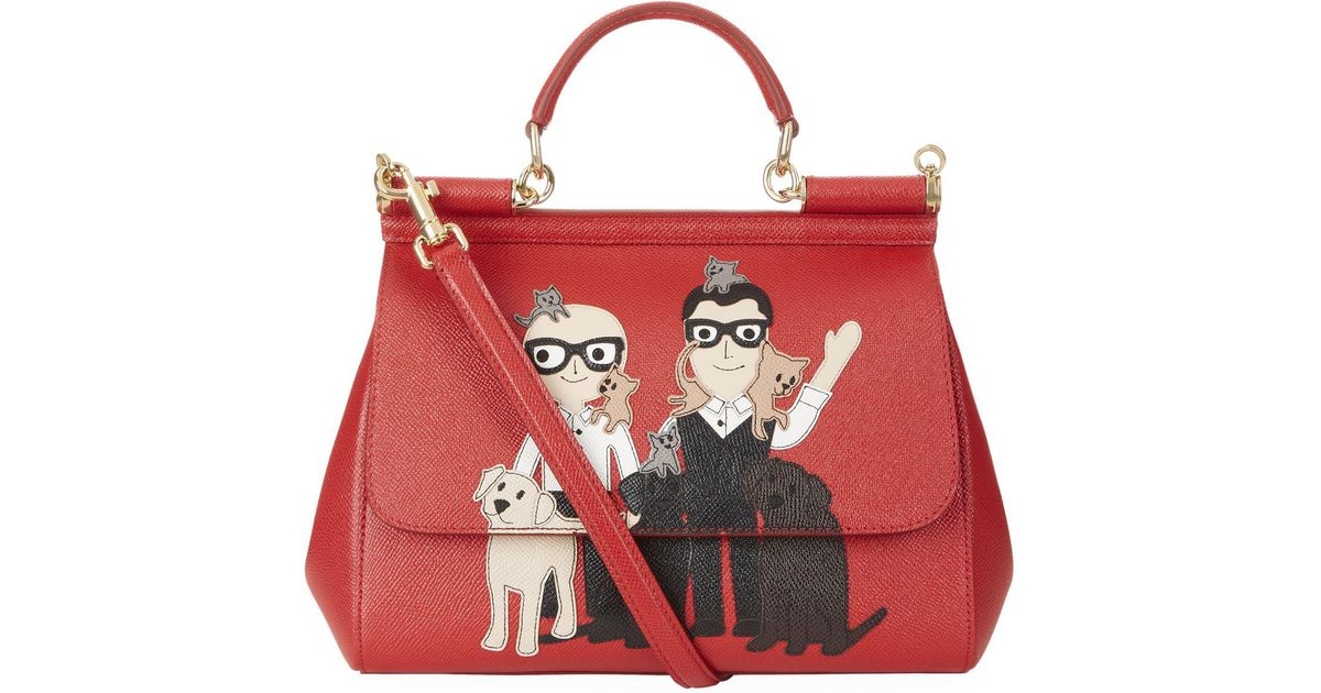 647196ee40 Dolce   Gabbana Medium Sicily Family Top Handle Bag in Red - Lyst