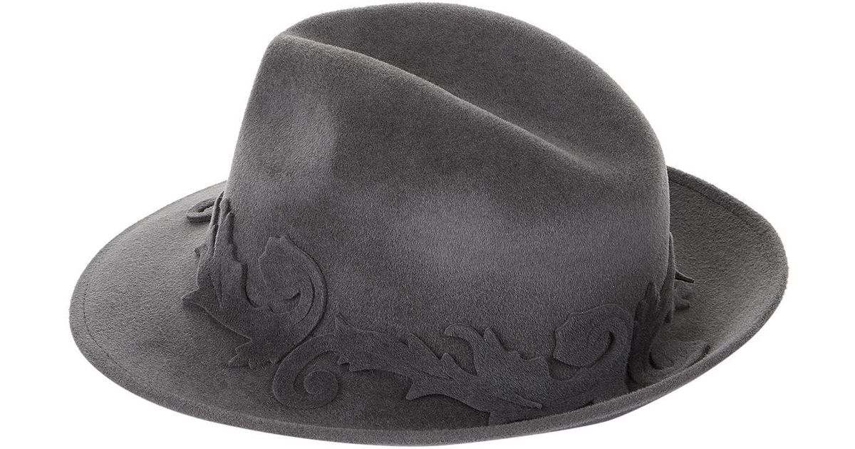 f26f7dd3003 Lyst - William Chambers Scroll Felt Trilby in Gray for Men
