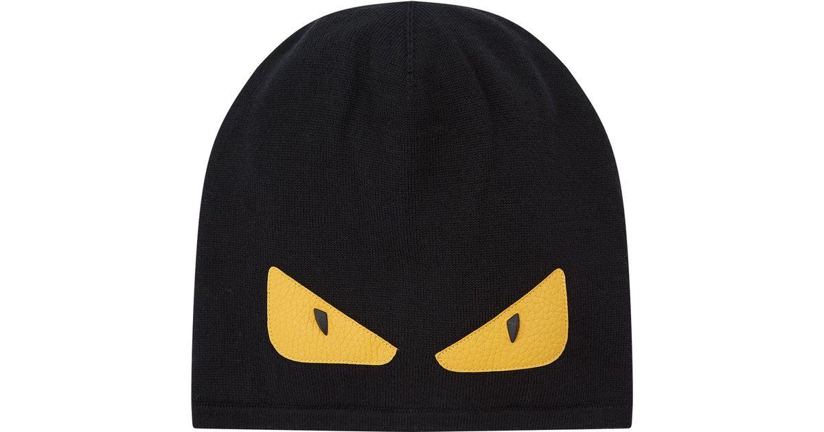 Lyst - Fendi Knitted Monster Eye Beanie in Black for Men 0e8938fb531