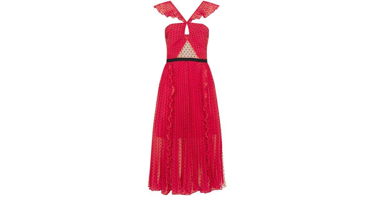e1a25854e267 Self-Portrait Plumetis Polka Dot Midi Dress in Pink - Lyst