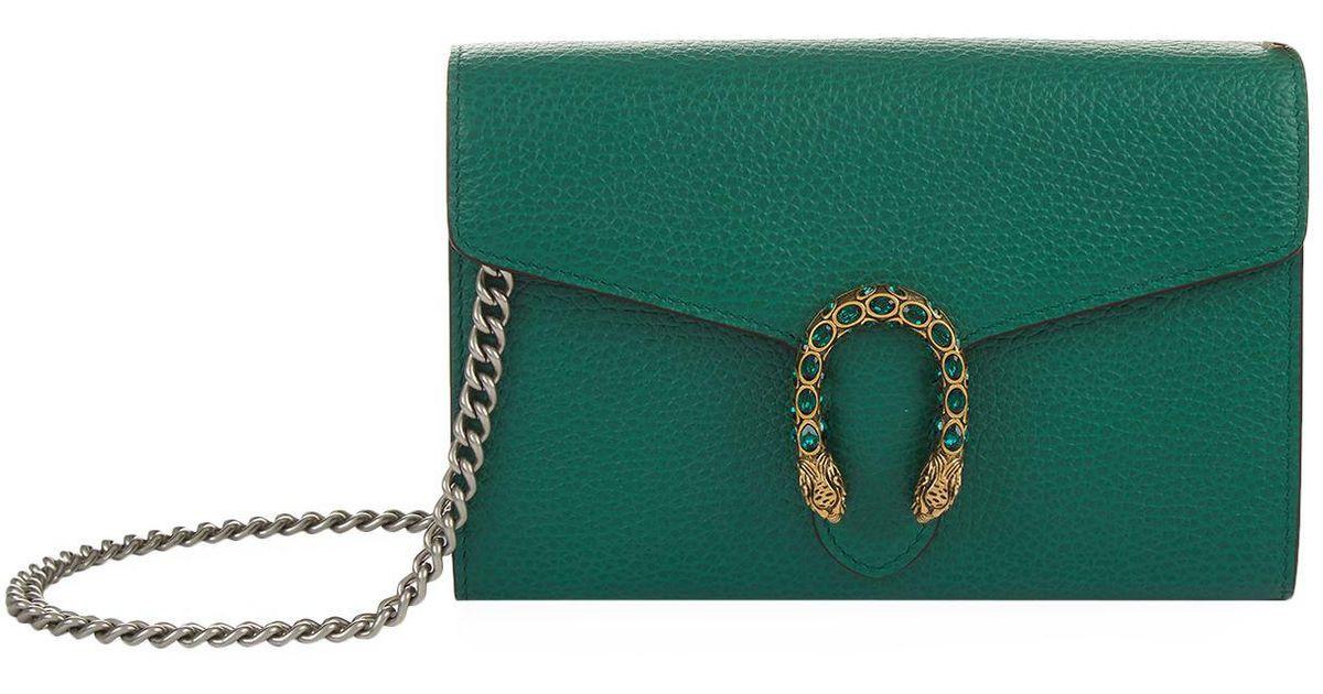 9ac02d81225 Lyst - Gucci Mini Leather Dionysus Shoulder Bag in Green