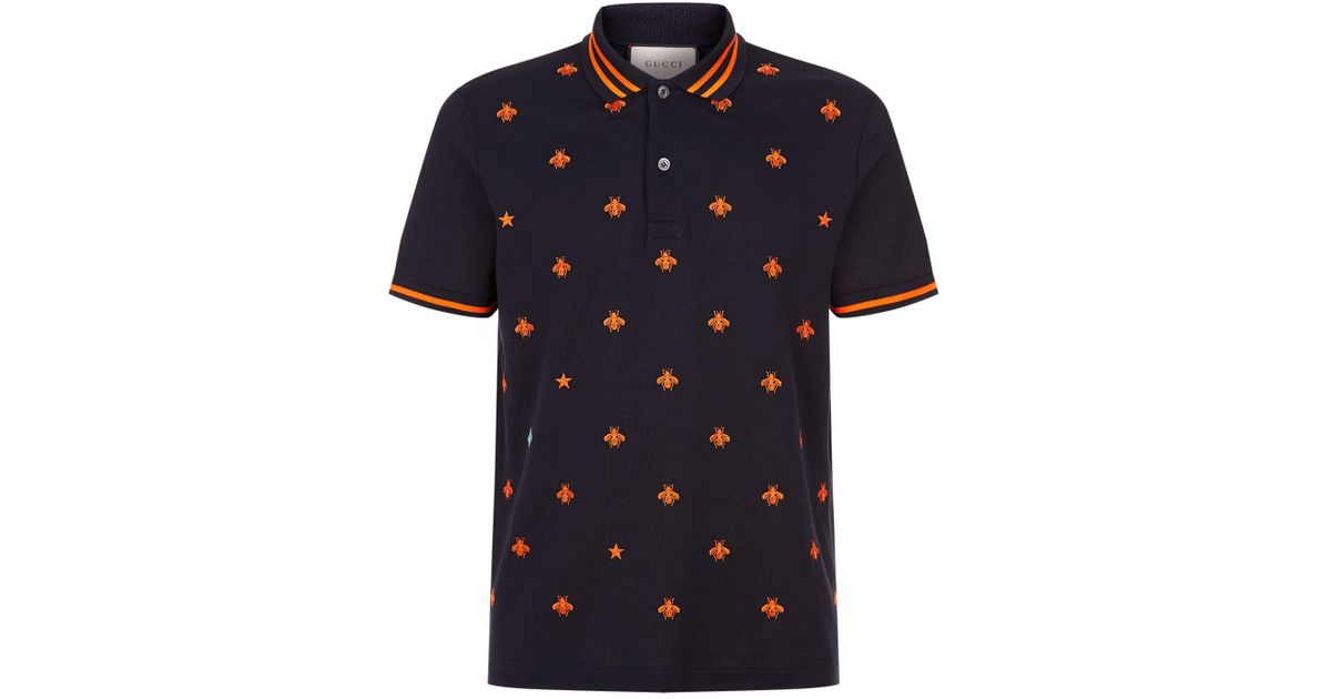 6e941c962157 Gucci Embroidered Bee Polo Shirt in Blue for Men - Lyst