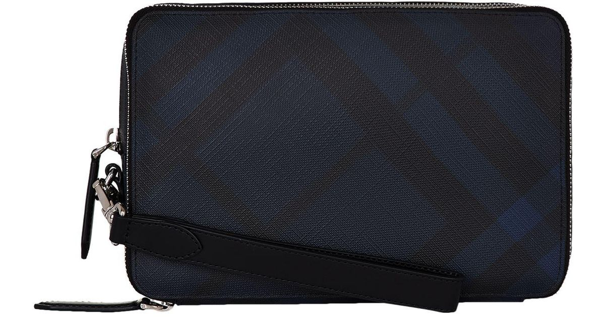 98940338b773 Burberry Checked Clutch Bag in Black for Men - Lyst