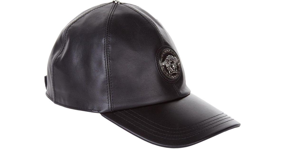 Lyst - Versace Leather Cap in Black for Men dfbb250983e