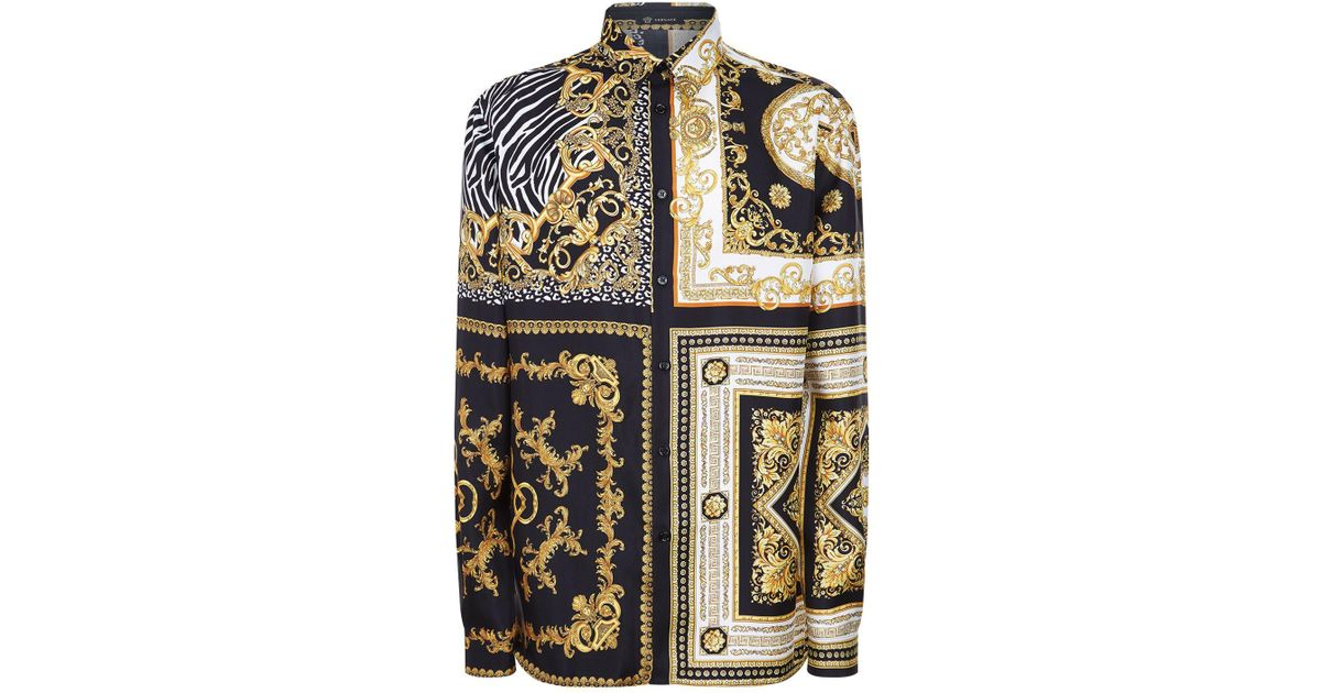 480887c645d93 Versace Signature 17 Print Silk Shirt for Men - Lyst