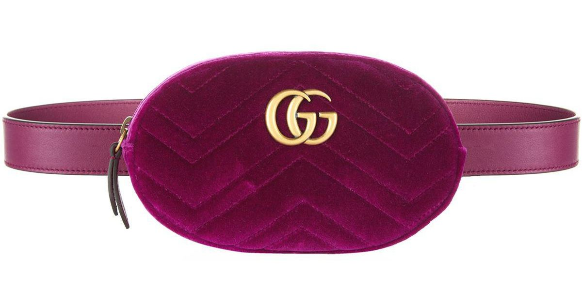 abfcce7b6 Gucci Marmont Velvet Belt Bag in Pink - Lyst