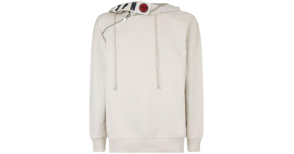 f00ad784 Lyst - Armani Embroidered Koi Fish Asymmetric Hoodie in White for Men