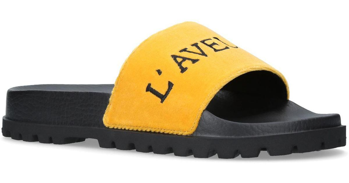 bd151671a80 Lyst - Gucci Pursuit Velvet Embroidered Slides in Yellow for Men
