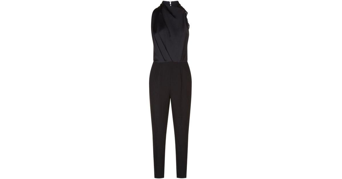 cf7b34977119 Lyst - Reiss Kita Lace Back Jumpsuit in Black