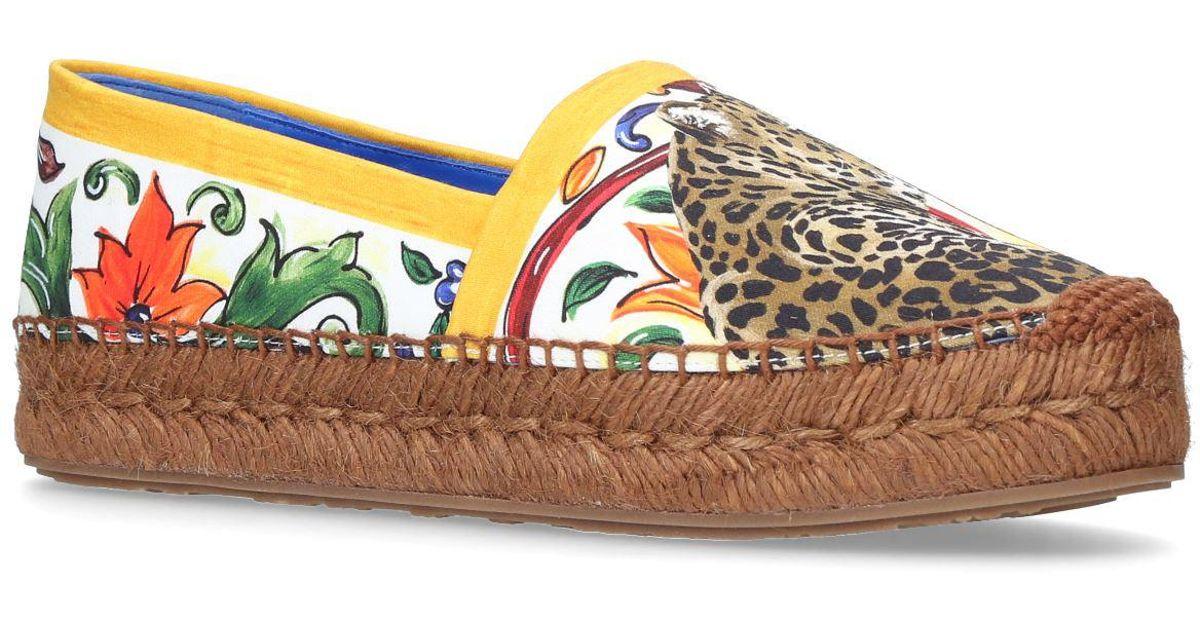89830f0c990 Lyst - Dolce   Gabbana Majolica And Leopard Espadrilles