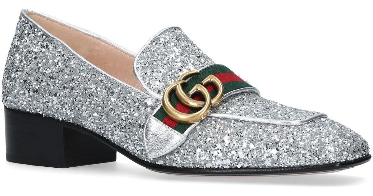 Lyst - Gucci Peyton Glitter Loafers 35 in Metallic e76adc875564
