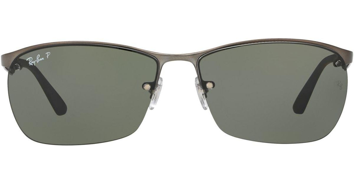 Lyst - Ray-Ban Half-frame Sunglasses in Gray for Men - Save 6%