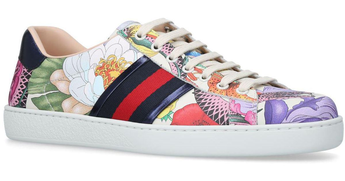 8dbf5142f75 Lyst - Gucci New Flora Ace Sneakers