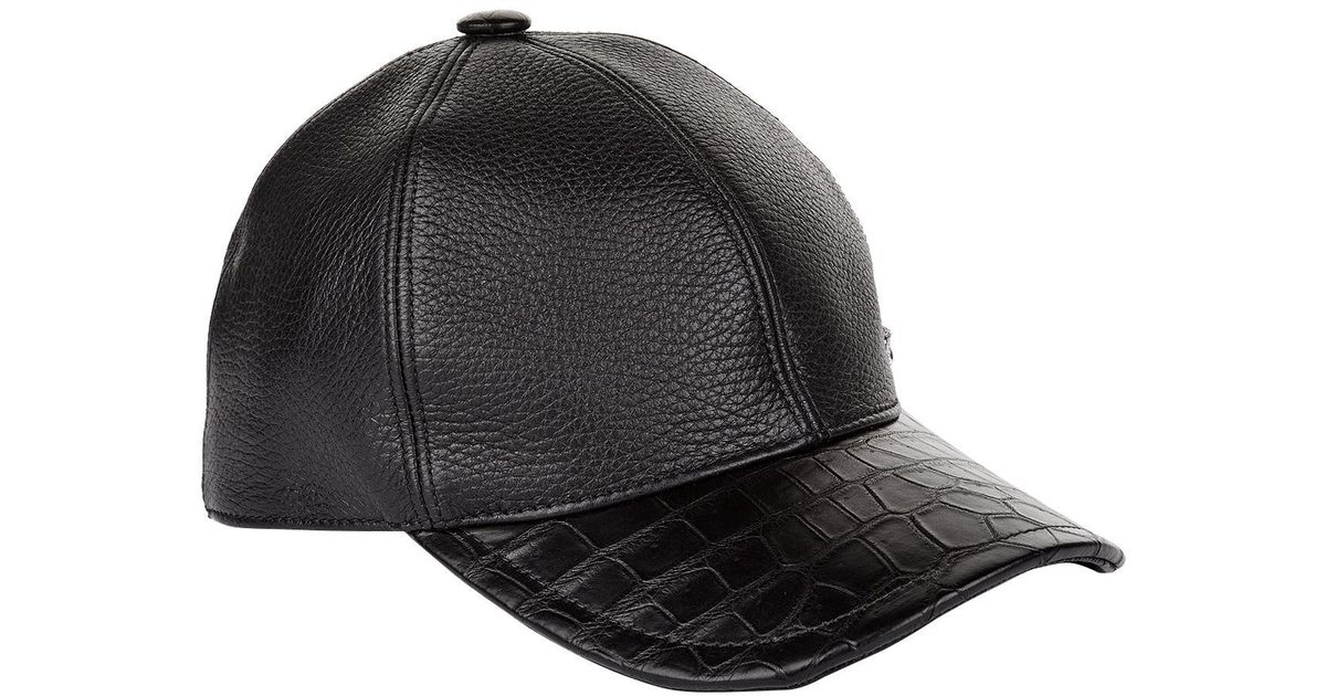 Stefano Ricci Crocodile Skin And Leather Cap in Black for Men - Lyst de1226af660
