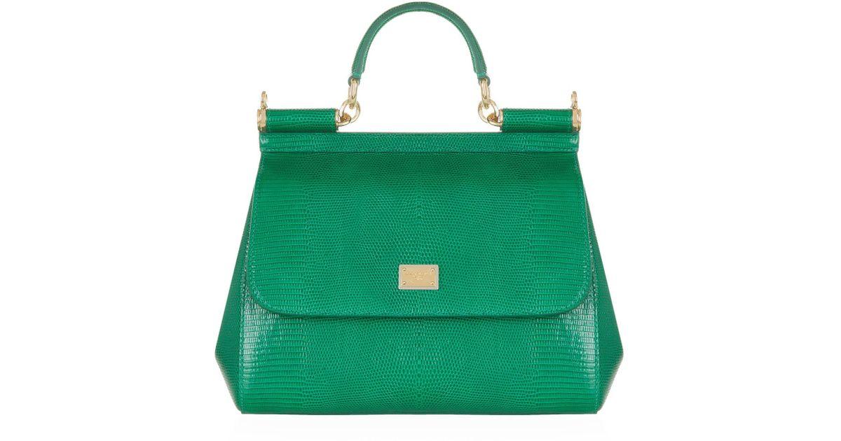 94142e976c Dolce & Gabbana Medium Sicily Iguana Print Top Handle Bag in Green - Lyst
