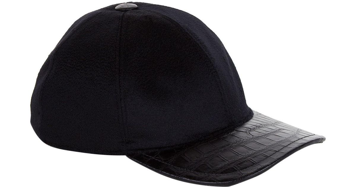 Stefano Ricci Cashmere And Crocodile Skin Cap in Black for Men - Lyst 1d39b5665c73