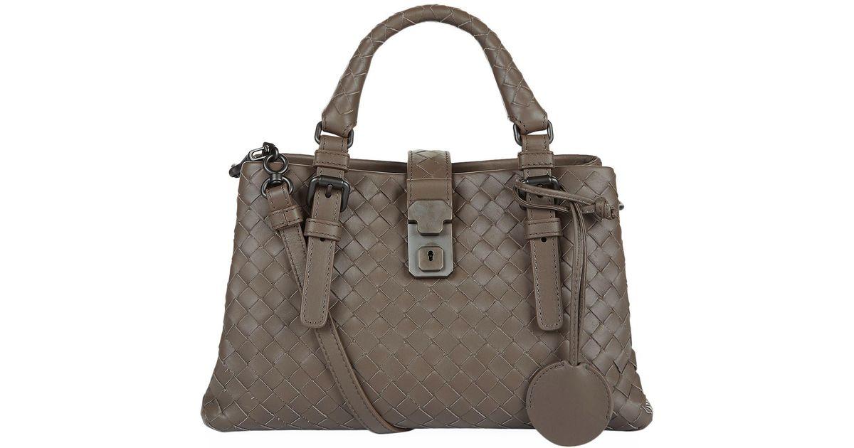 Lyst - Bottega Veneta Mini Intrecciato Roma Shoulder Bag in Gray 305dbe10585db