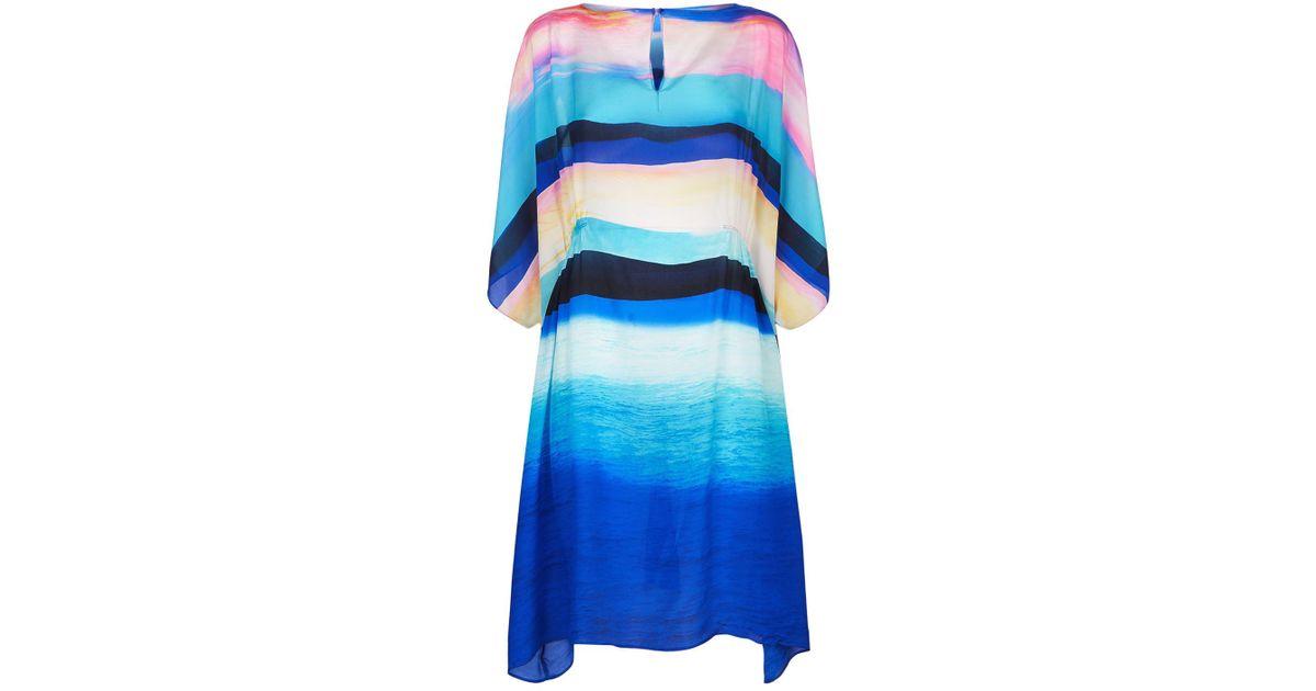 266ebcf2bd Gottex Seascape Silk Dress in Blue - Lyst