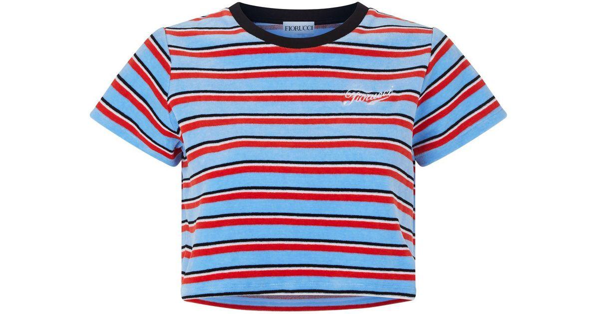 75eb45aa8e3 Lyst - Fiorucci Velvet Striped Rugby T-shirt in Blue
