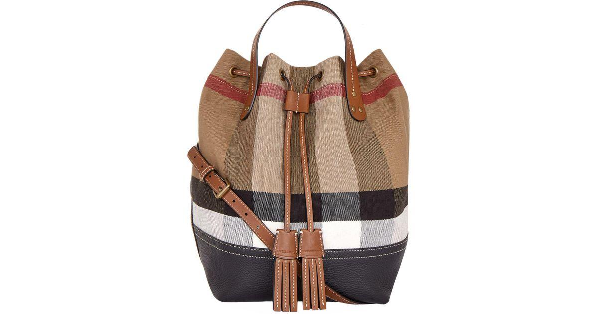 6a1a21b71b0b Burberry Heston Check Bucket Bag in Brown - Lyst