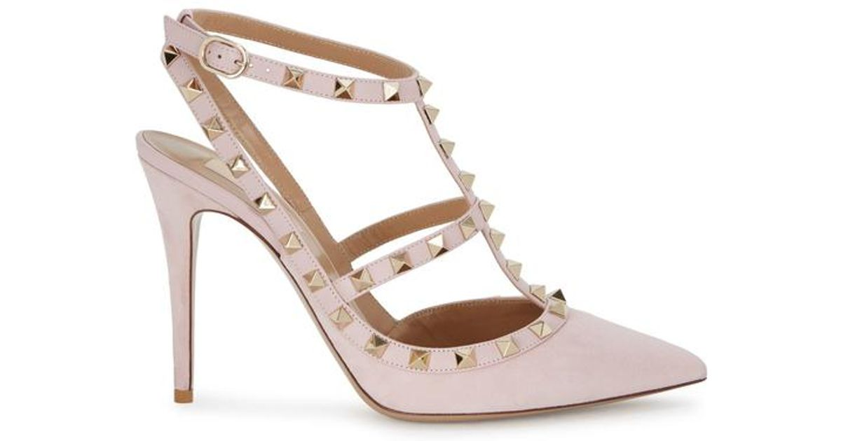 1e5e6921e59b Valentino Rockstud 100 Pink Suede Pumps in Pink - Lyst