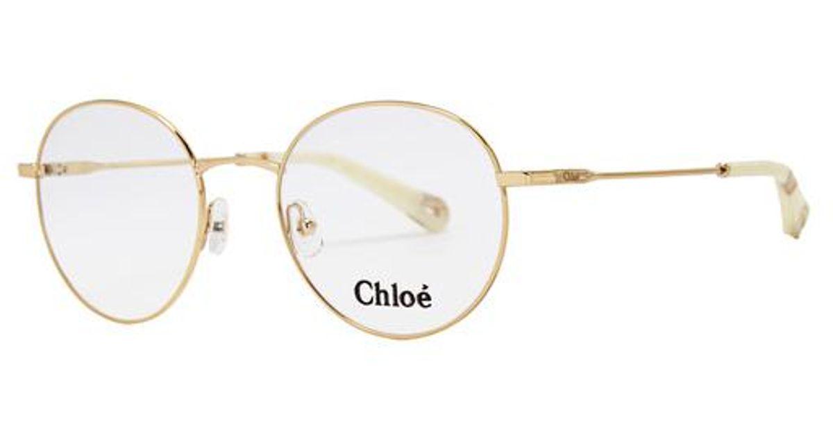 c3e6656a8ca Chloé Poppy Round-frame Optical Glasses in Metallic - Lyst
