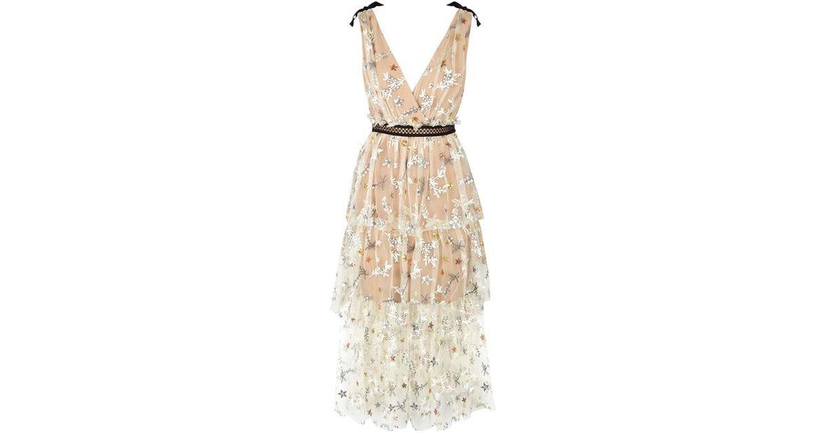 08e3602e527e Self-Portrait Almond Embroidered Tulle Midi Dress in Natural - Lyst