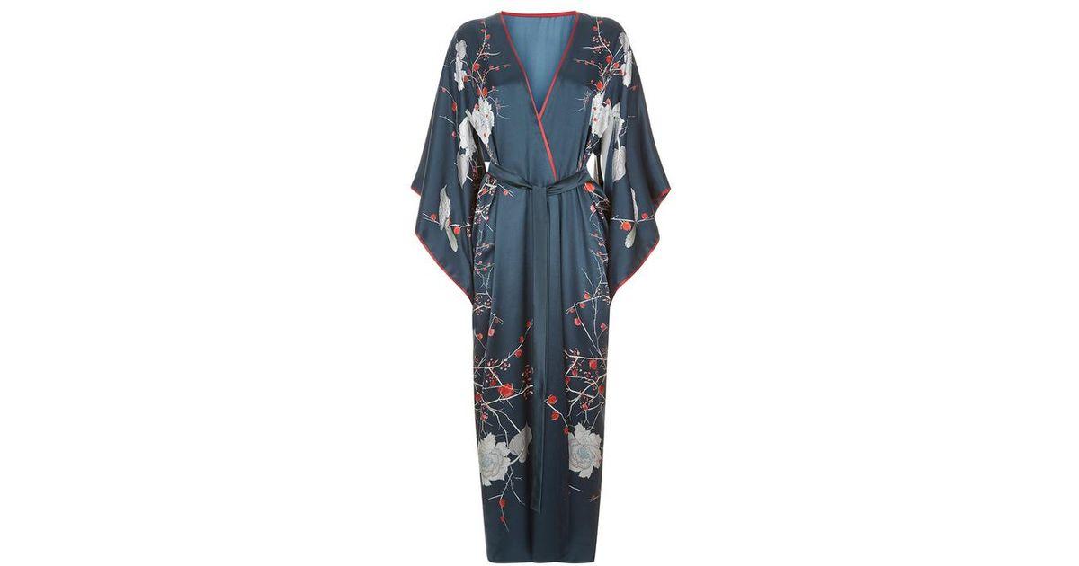 ad176baa0 Meng Navy Silk Satin Full Length Lined Kimono in Blue - Lyst