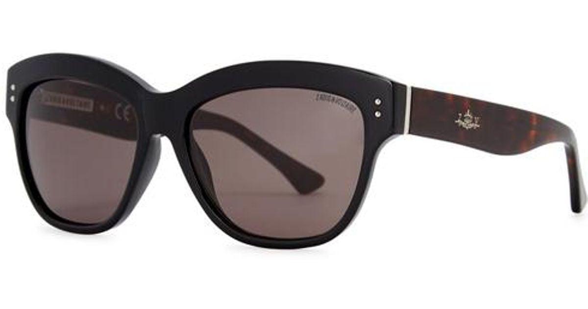 ba64914847 Lyst - Zadig   Voltaire Black Oval-frame Sunglasses in Black