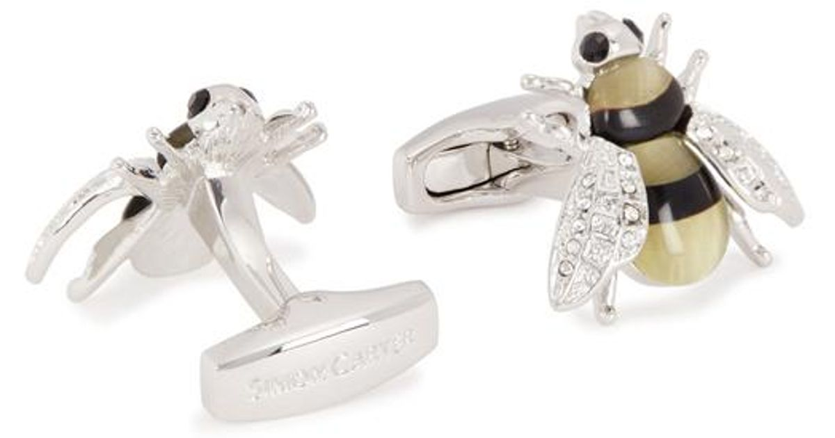 581556bac Simon Carter Swarovski Crystal-embellished Bee Cufflinks in Yellow for Men  - Lyst